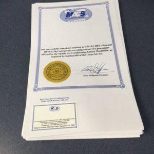 Certificación 609 a un técnico de refrigeración
